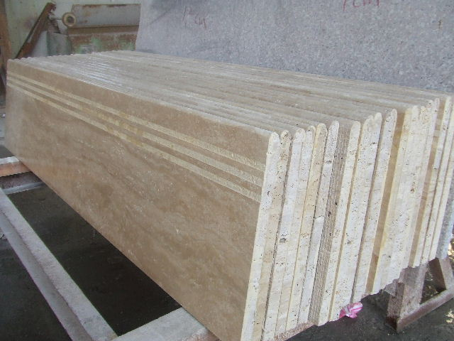 Beige Travertine Stair Slabs   China Foreign Granite Countertops Vanity  Tops Prefabricated Slabs Granite Supplier